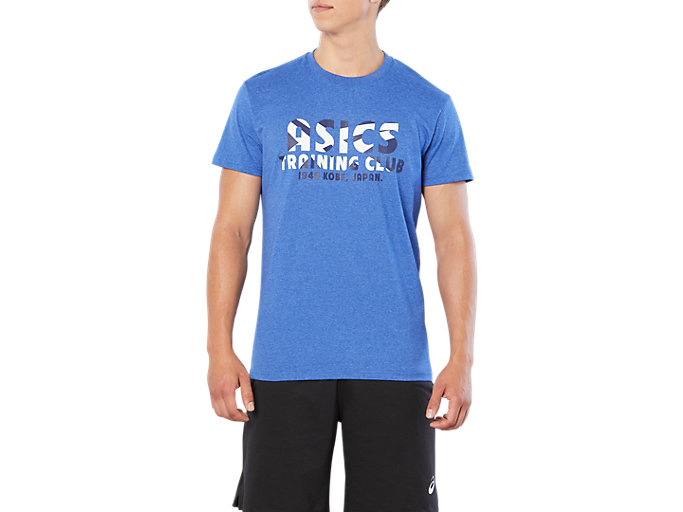 Front Top view of SPORT TRAINING CLUB TEE, AIRFORCE BLUE HEATHER