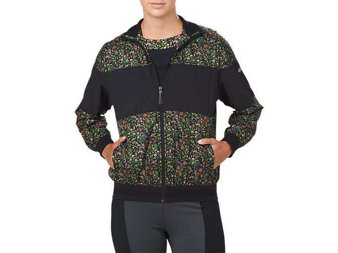 Front Top view of LP PRINT WIND JACKET, PERFORMANCE BLACK