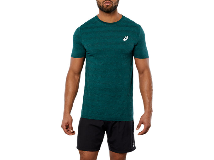 Front Top view of SPORT SEAMLESS KNIT, EVERGLADE HEATHER