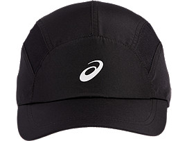 Front Top view of SPORT RUNNING CAP, PERFORMANCE BLACK
