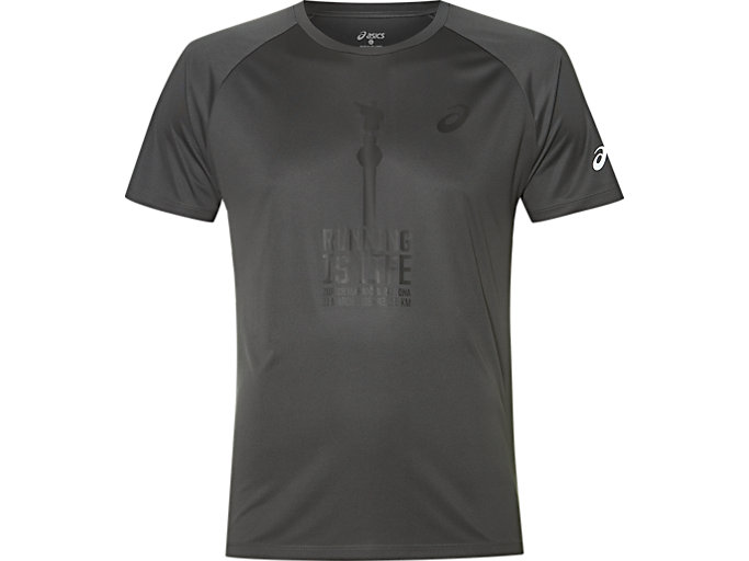 Front Top view of TS TECHNICAL GRAPHIC 2 T-SHIRT, DARK GREY