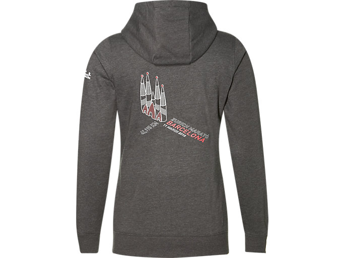 Back view of Trainings-Hoodie mit Reißverschluss für Damen, DARK GREY HEATHER
