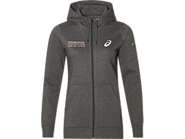 Trainingshoody met lange ritssluiting voor dames, DARK GREY HEATHER