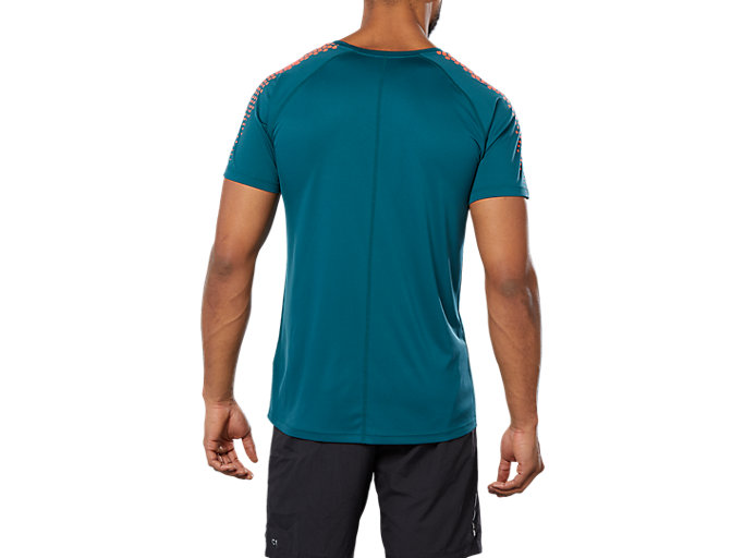 Back view of STRIPE SS TOP, EVERGLADE
