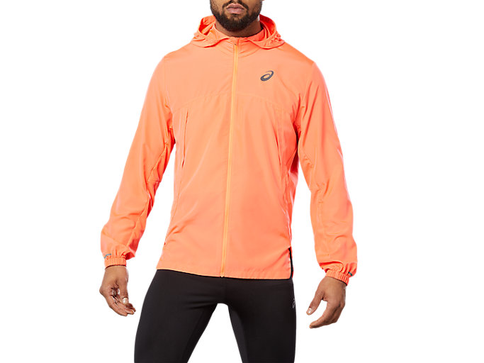 Front Top view of RUN HOOD JACKET, FLASH CORAL