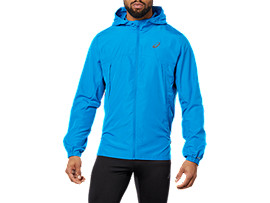 Front Top view of RUN HOOD JACKET, RACE BLUE