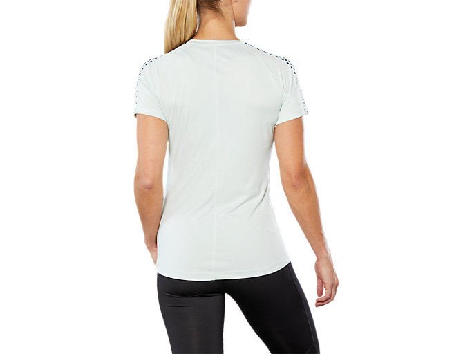 Back view of SPORT STRIPE SS TOP, SPROUT GREEN