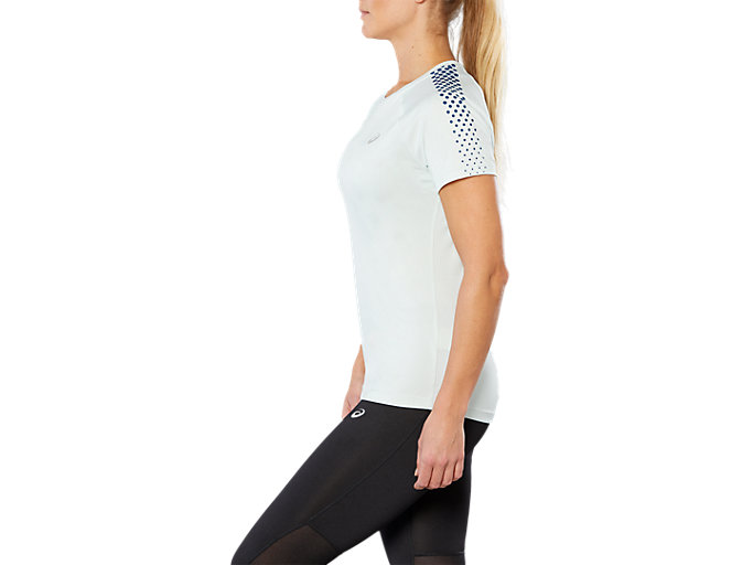 Side view of SPORT STRIPE SS TOP, SPROUT GREEN