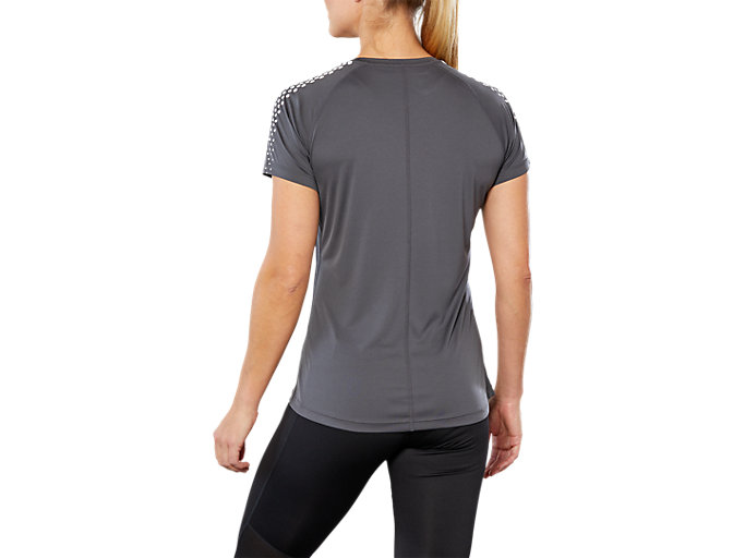 Back view of STRIPE SS TOP, DARK GREY