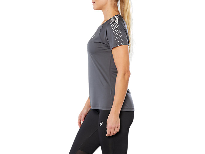 Side view of STRIPE SS TOP, DARK GREY