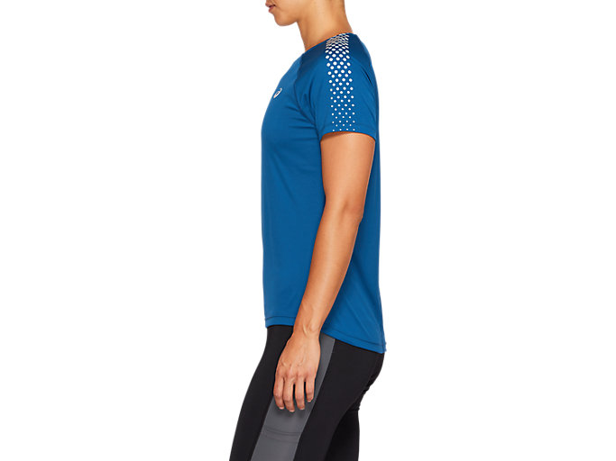Side view of SPORT STRIPE SS TOP, MAKO BLUE