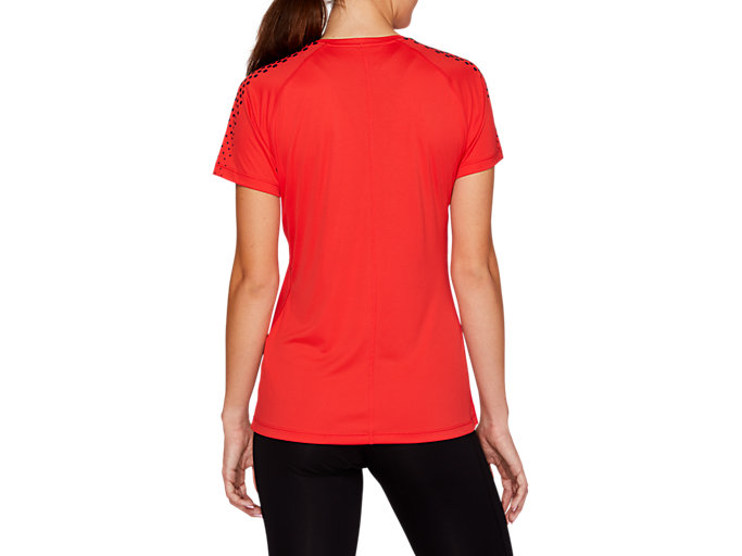 Back view of STRIPE SS TOP, RED ALERT