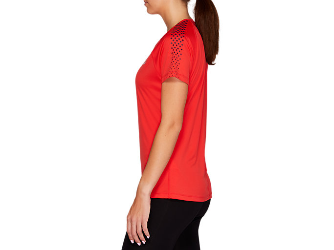 Side view of STRIPE SS TOP, RED ALERT