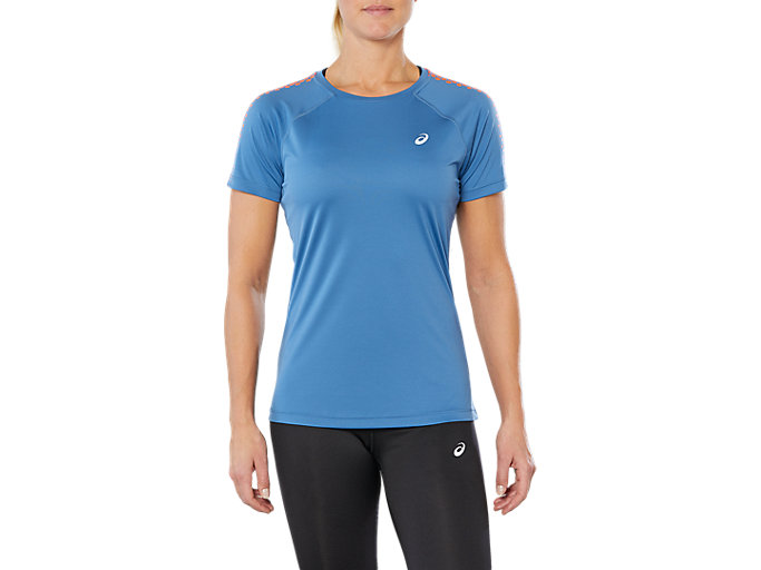 Front Top view of SPORT STRIPE SS TOP, AZURE
