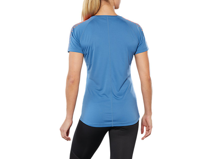 Back view of SPORT STRIPE SS TOP, AZURE