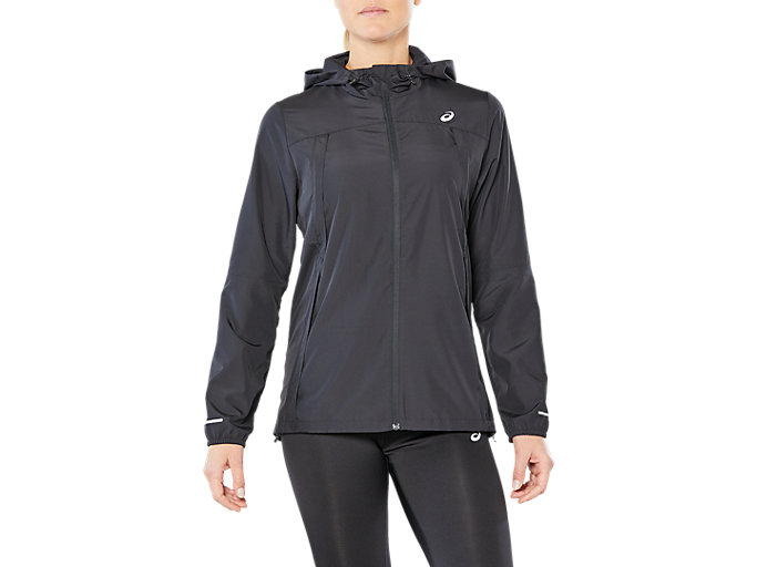 Front Top view of RUN HOOD JACKET, PERFORMANCE BLACK