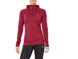 Sudadera con capucha de running de manga larga para mujer, CORDOVAN HEATHER