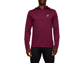 Front Top view of LS HOODIE, ROSELLE HEATHER