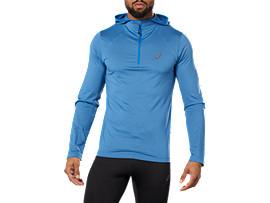 Sweat à capuche de running à manches longues pour hommes, AZURE