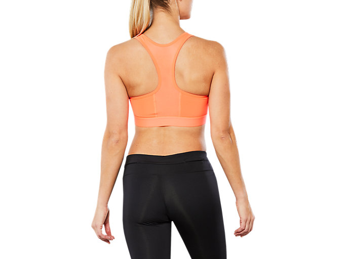 Back view of SPORT BRA TOP, FLASH CORAL