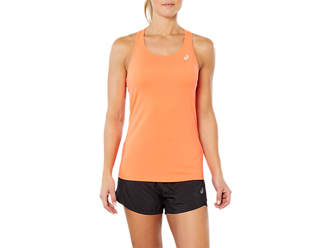 Front Top view of SPORT 2 IN 1 TANK TOP, FLASH CORAL