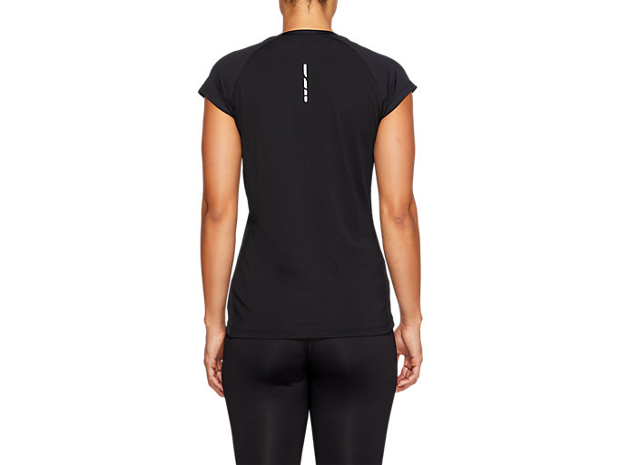 Back view of CAPSLEEVE TOP, PERFORMANCE BLACK