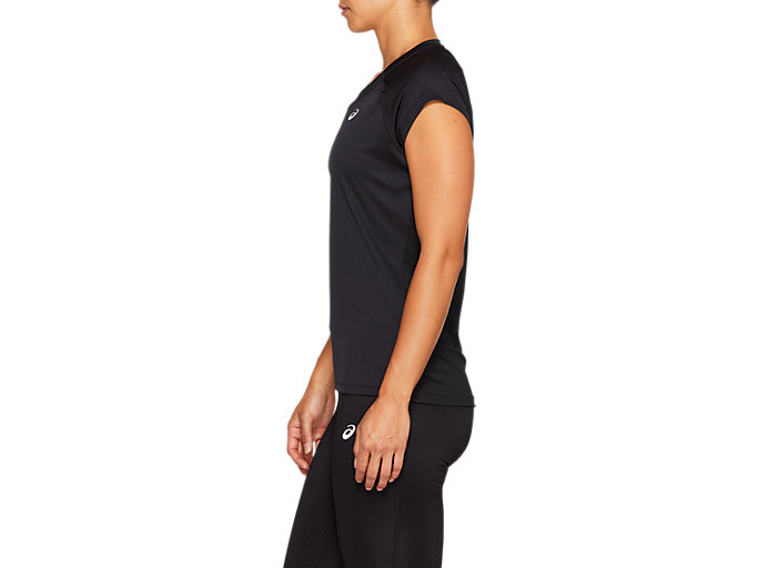 Side view of CAPSLEEVE TOP, PERFORMANCE BLACK