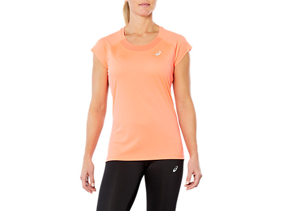 CAPSLEEVE TOP, FLASH CORAL