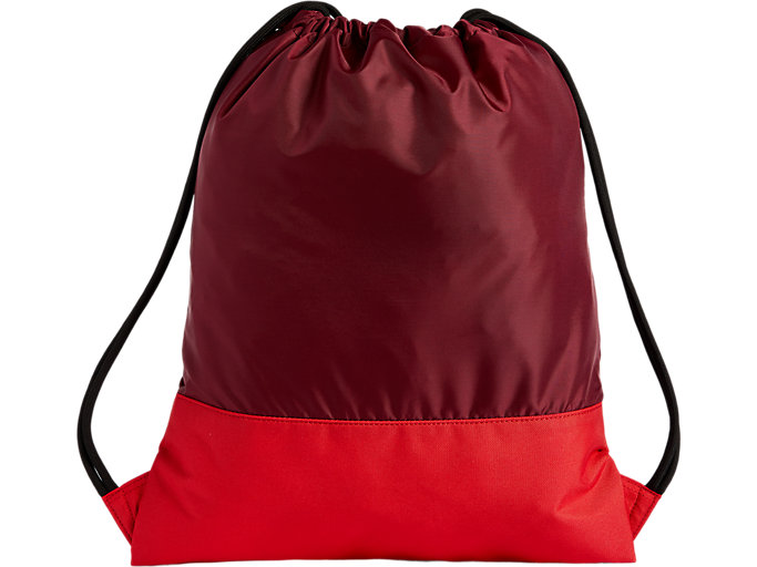 Back view of COLOR BLOCK GYMSACK, CORDOVAN/CAYENNE