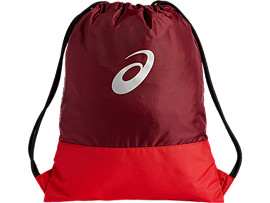 Front Top view of COLOR BLOCK GYMSACK, CORDOVAN/CAYENNE