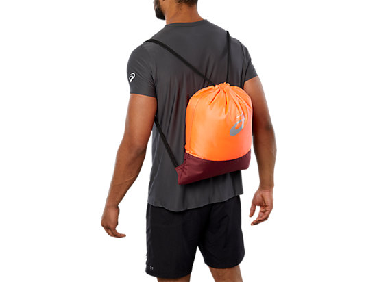 COLOR BLOCK GYMBAG, FLASH CORAL