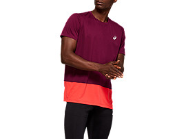 Front Top view of SPORT CLBL TEE, ROSELLE/RED ALERT