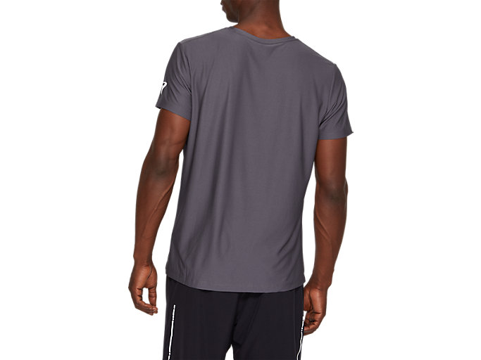 Back view of SPORT GPX SS TOP, DARK GREY/SAFETY YELLOW