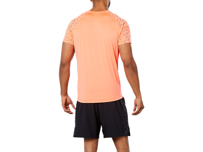 Back view of SPORT REF SS TOP, FLASH CORAL