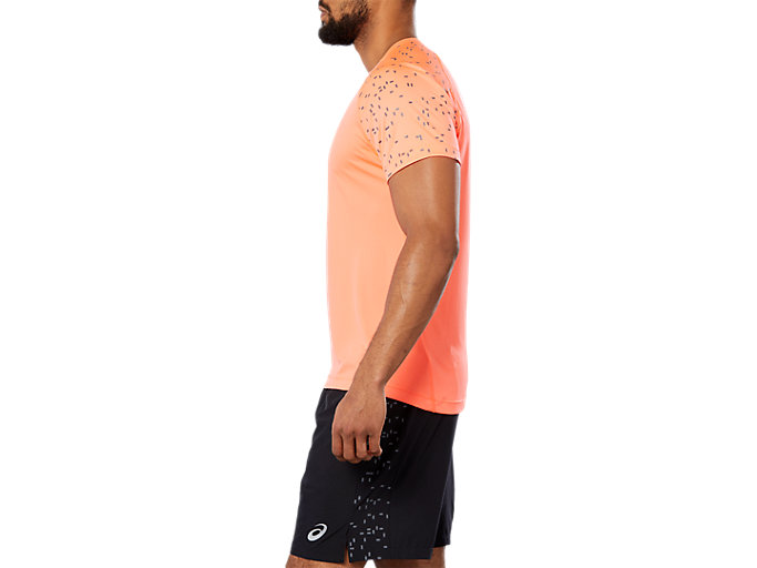 Side view of SPORT REF SS TOP, FLASH CORAL