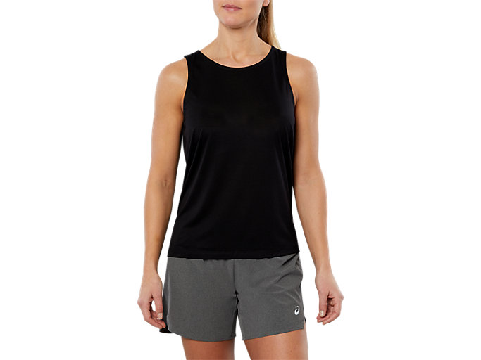 Front Top view of SPORT DRAPE TANK, PERFORMANCE BLACK