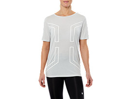 SPORT HEX SS TOP, GLACIER GREY / WHITE
