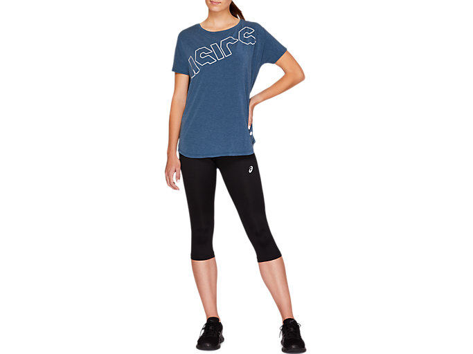 Front Top view of SPORT PRINT OS TEE, MAKO BLUE