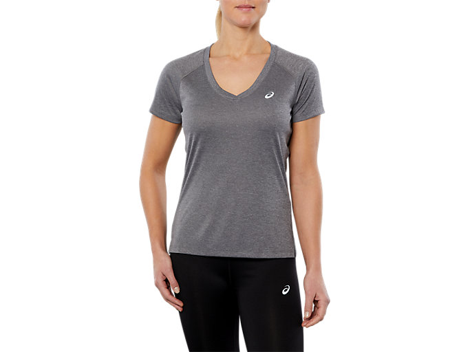Front Top view of SPORT V-NECK SS TOP, DARK GREY HEATHER