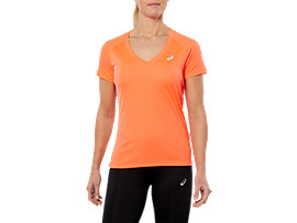 SPORT V-NECK SS TOP, FLASH CORAL