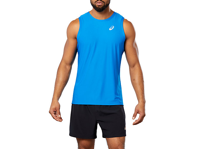 Front Top view of SPORT SINGLET, Race Blue