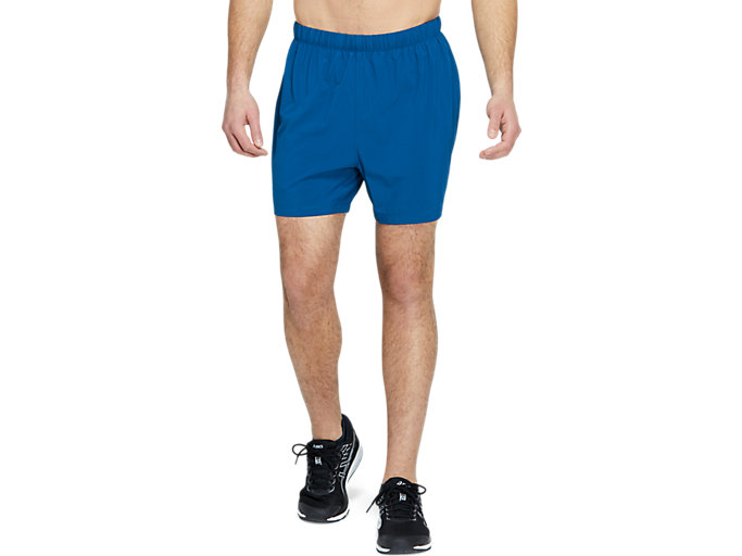 Front Top view of SPORT 5 INCH RUN SHORT, MAKO BLUE