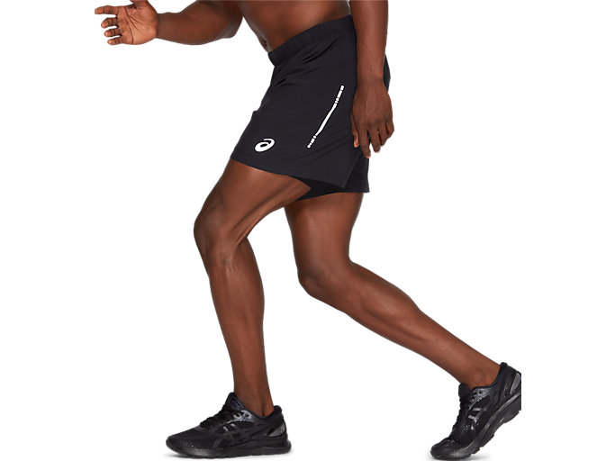 Side view of SPORT WOVEN 2-IN-1 SHORT, PERFORMANCE BLACK