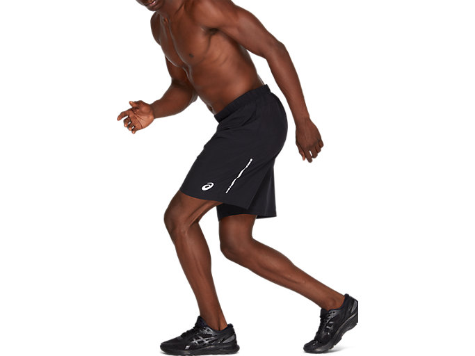 Side view of SPORT 7INCH RUN SHORT, PERFORMANCE BLACK