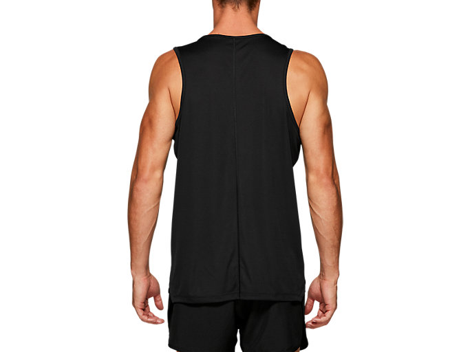 Back view of SILVER SINGLET, PERFORMANCE BLACK
