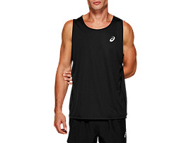 Front Top view of SILVER SINGLET, PERFORMANCE BLACK
