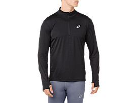 SILVER LS 1/2 ZIP TOP, PERFORMANCE BLACK