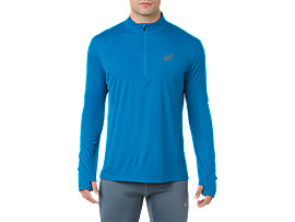 SILVER LS 1/2 ZIP TOP, RACE BLUE
