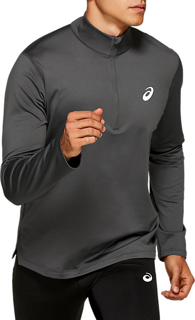 cffa2b26653 Silver Long Sleeve 1/2 Zip Winter Top | Men | Dark Grey | ASICS US