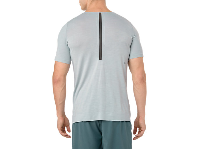 Back view of METARUN SS TOP, MID GREY